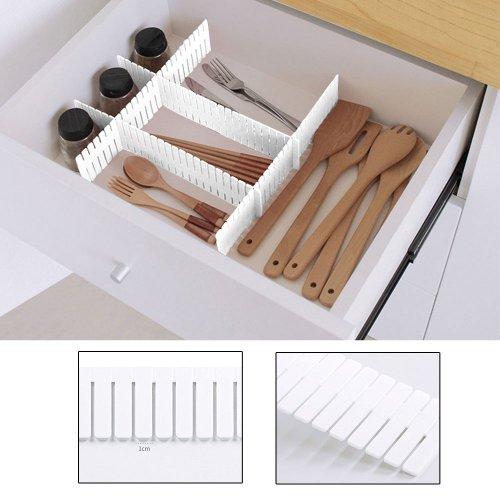 4pcs Adjustable Clapboard Drawer Organizer and Divider - White
