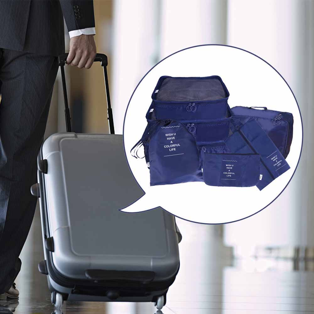 7pcs Waterproof Travel Storage Bags Clothes Packing Cube Luggage Organiser Pouch - Navy Blue