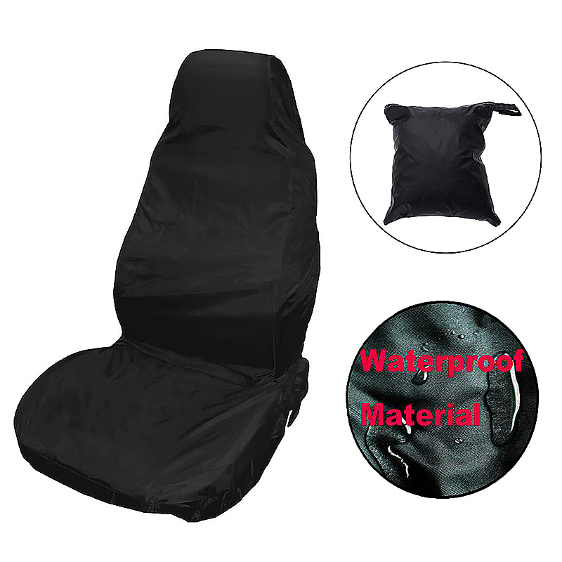 2pcs Reusable Waterproof Nylon Vehicle Seat Chair Cover Protector - Black