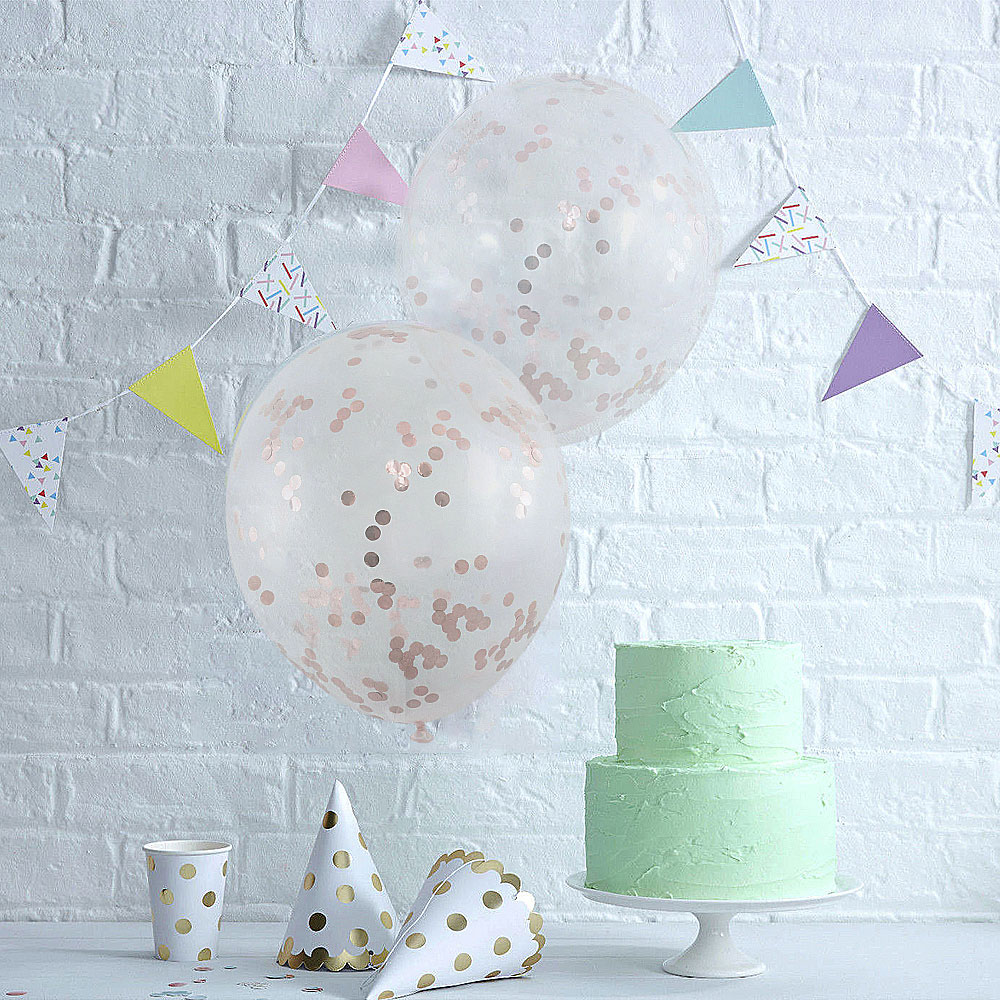 5pcs 12 inch Foil Latex Confetti Balloon Party Supplies - Rose gold