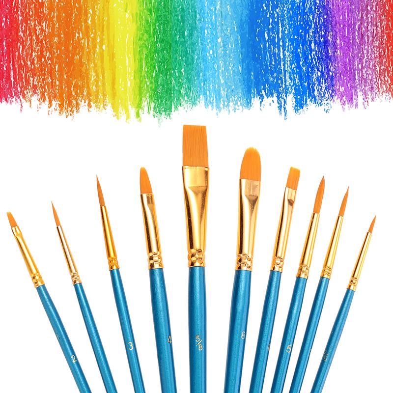 10pcs Round Flat Tip Watercolor Painting Brush Set