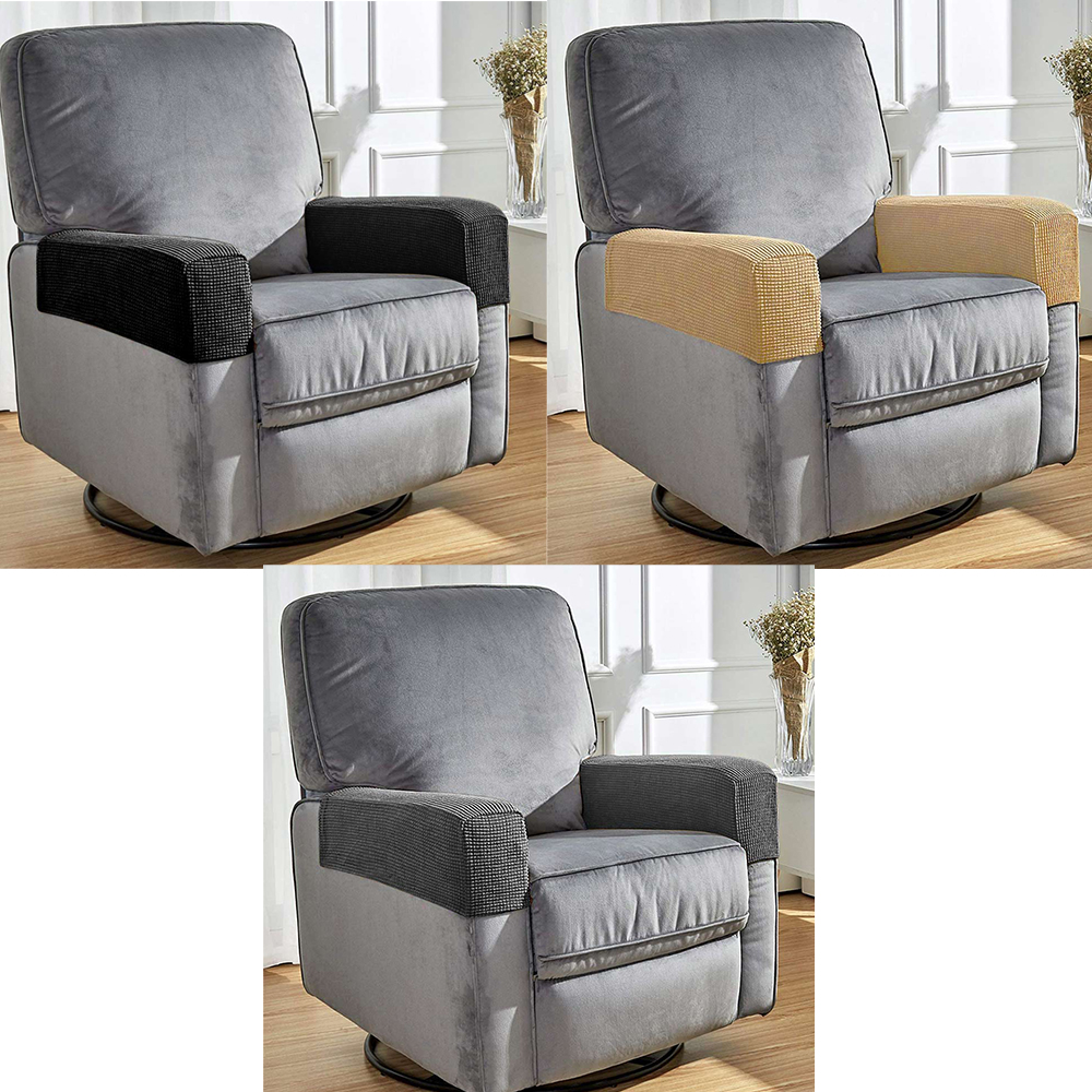 1 Pair of Polar Fleece Removable Sofa Armrest Cover and Protector - Beige