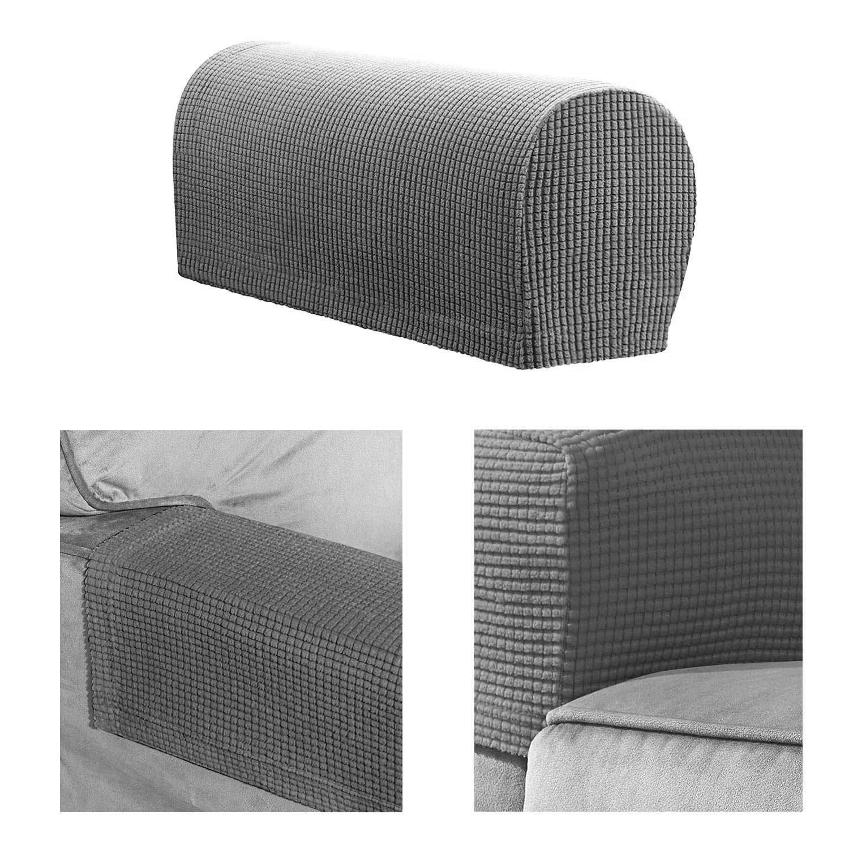 1 Pair of Polar Fleece Removable Sofa Armrest Cover and Protector - Grey