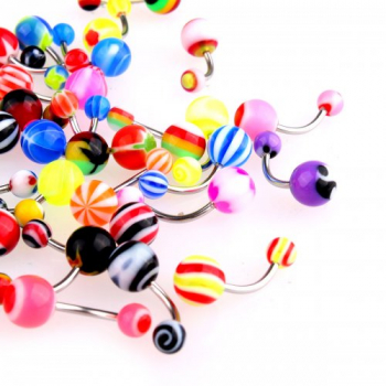50x Mix Colors Navel Belly Botton Acrylic Barbell