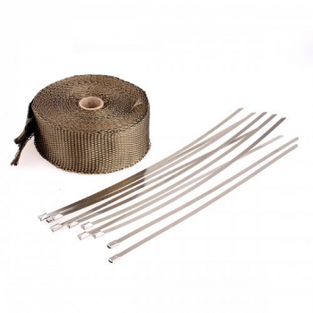 10M Basalt Titanium Heat Wrap Exhaust Manifold + 10 Stainless Steel Cable Ties 30cm