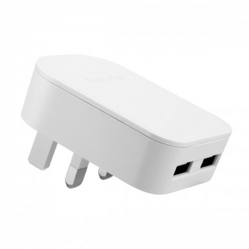 TH31 Foldable Dual USB Port UK Charger Adaptor - White