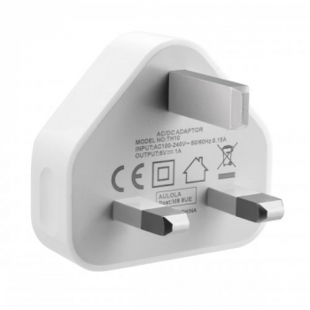 5V 1A USB Charger Adapter UK Plug for iPhone 5S 6 Plus Samsung - White