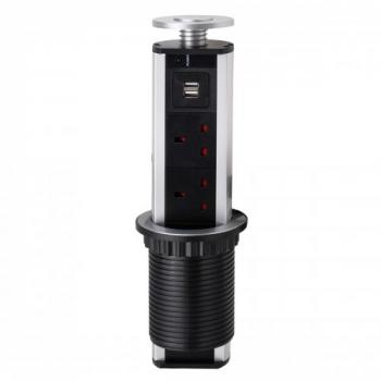Vertical Table 2 USB 3 Way Socket UK Plug