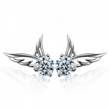 Silver Crystal Angel Wings Ear Stud Earrings 925 Fashion Womens Ladies