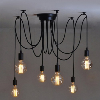 Vintage Edison Industrial Ceiling Pendant Light 6 Heads 1M