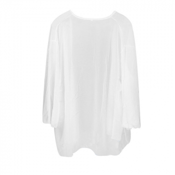 Women Chiffon Open Cardigan Top White M