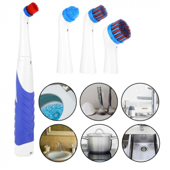 4 in 1 Electric Super Sonic Scrubber Cleaning Brush Clean Tool - Blue + White