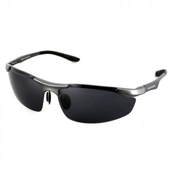 Aluminum Polarized Sunglasses Driving Mirror Goggle - Black