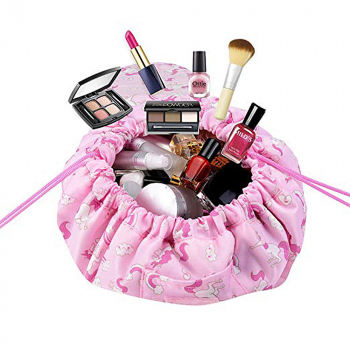 Portable Makeup Drawstring Bags Storage Travel Pouch Cosmetic Bag - Pink