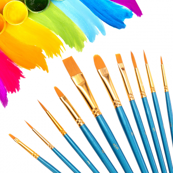 10pcs Round Flat Tip Watercolor Painting Brush Set