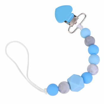 Baby Silicone Beads Teether Pacifier Clip Chain BPA Free - Blue