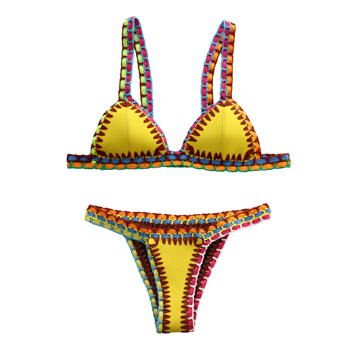 2pcs Women Sexy Handmade Crochet Halter Knit Bikini Swimsuit Set Size M - Yellow