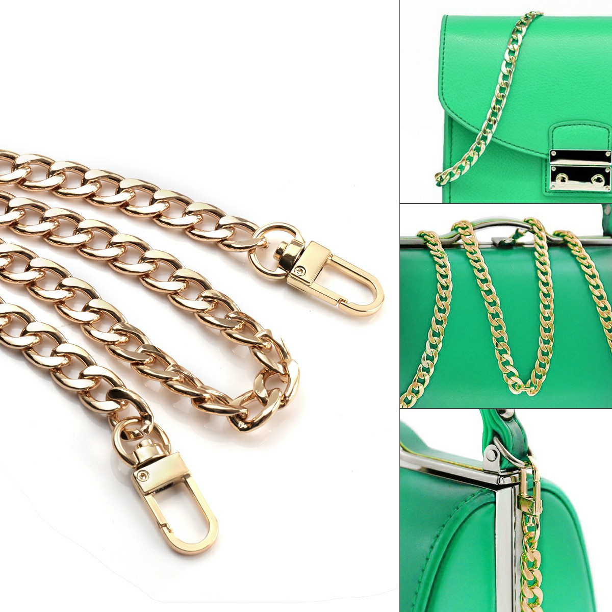 Metal Flat Chain Replacement Strap for Handbag - Gold