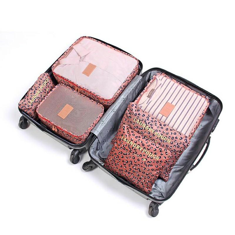 6pcs Clothes Storage Bags Set Luggage Organizer - Pink