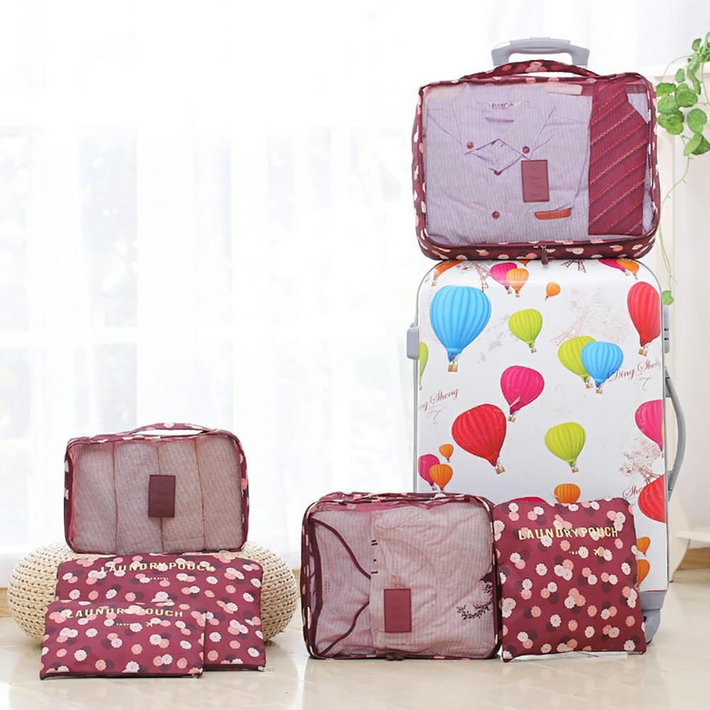 6pcs Clothes Storage Bags Set Luggage Organizer - Wine Red
