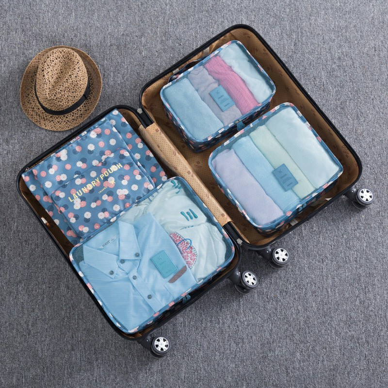 6pcs Clothes Storage Bags Set Luggage Organizer - Blue