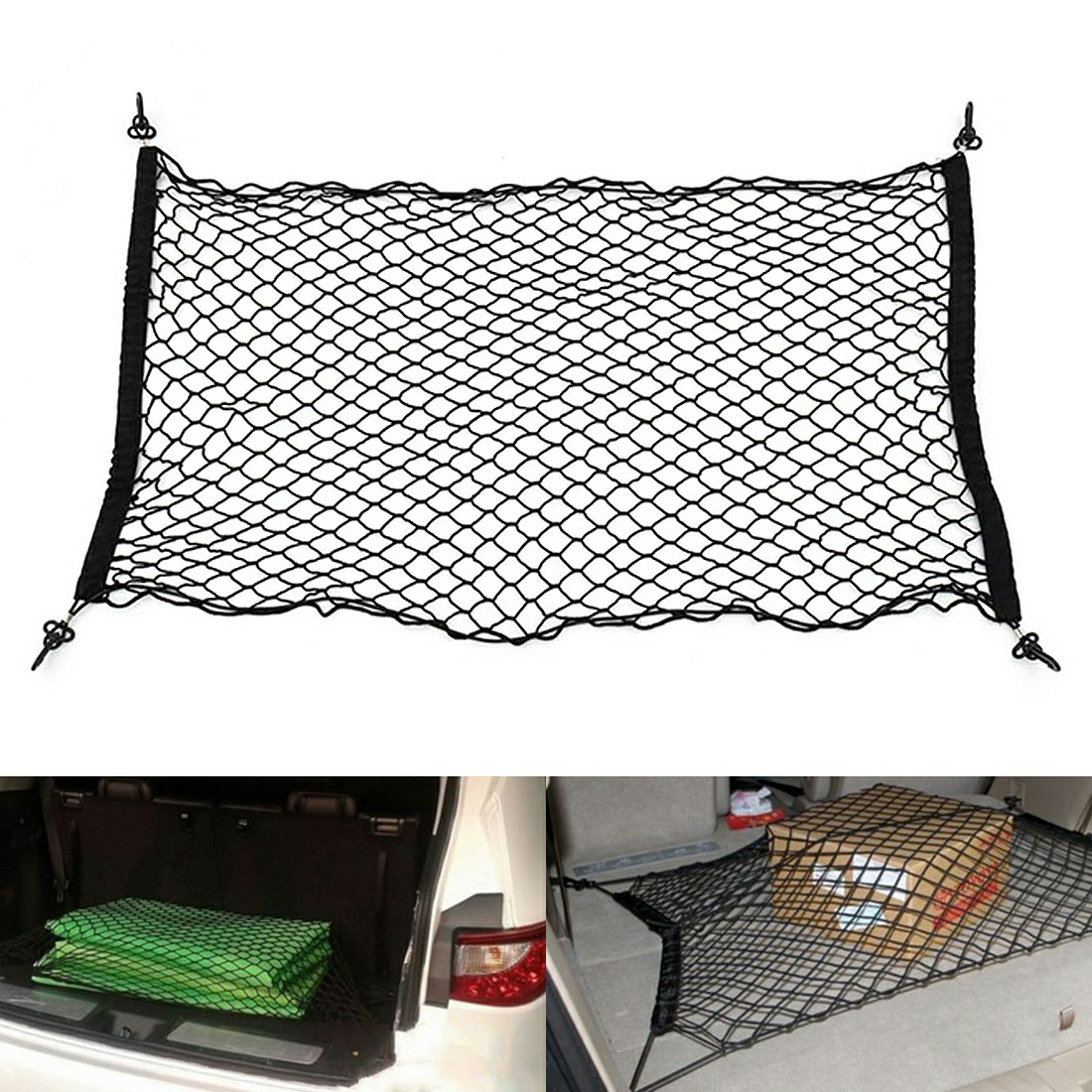 110*50cm Car Tidy Net Storage Organizer for SUV Hatchback - Black