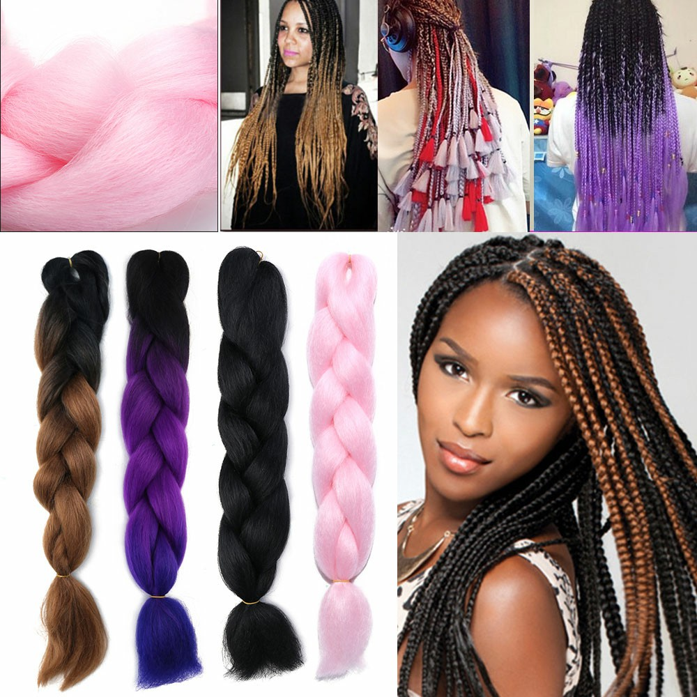 1 pcs 24 inch Ombre Braid Hair Extensions - Black+Purple+Blue