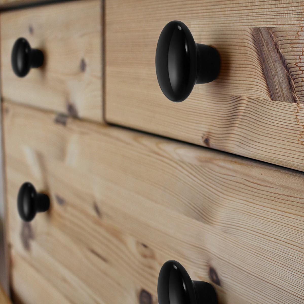 38mm Ceramic Single Hole Cupboard Handles Drawer Pulls - Black