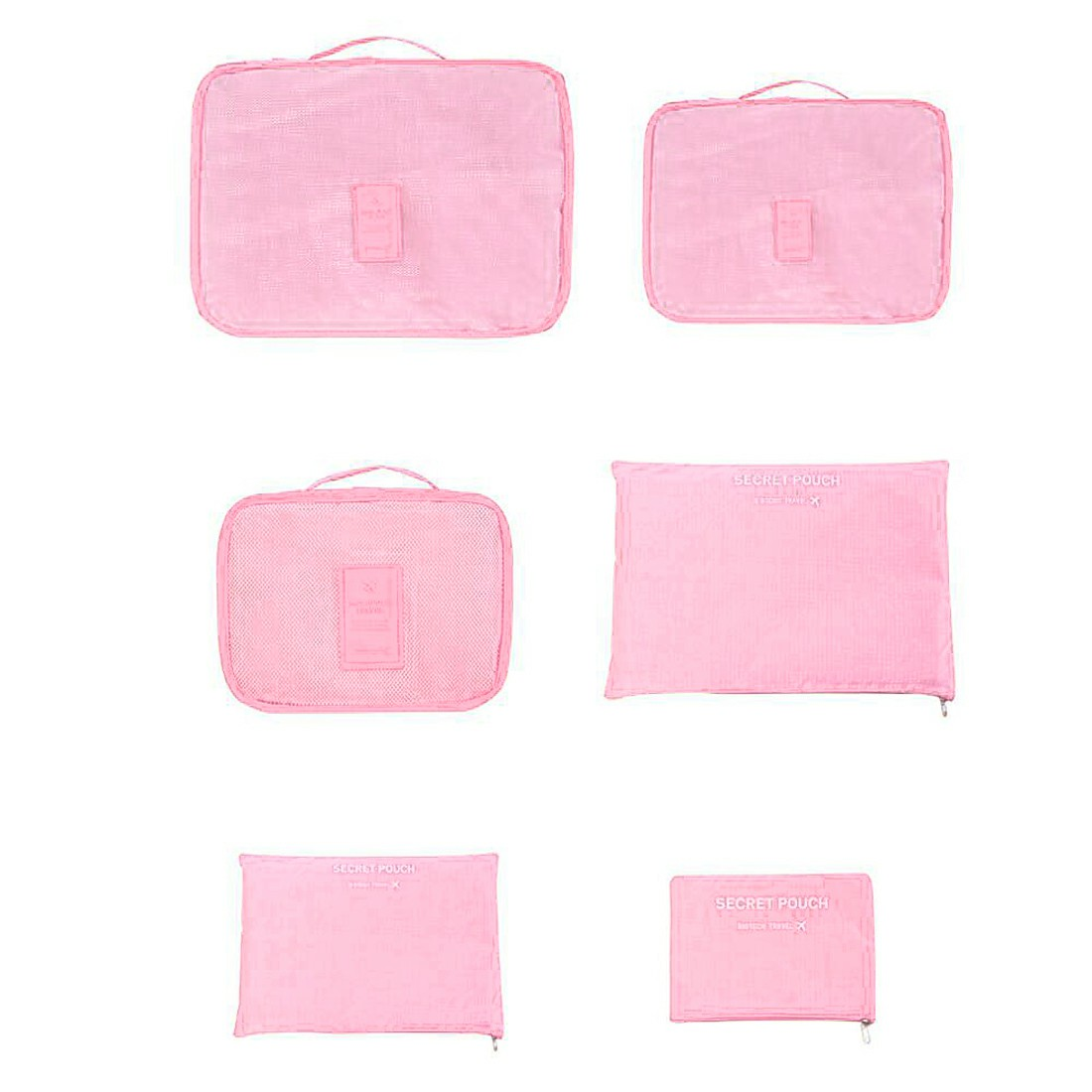 6pcs Waterproof Travel Storage Bags Clothes Packing Organizer - Pink