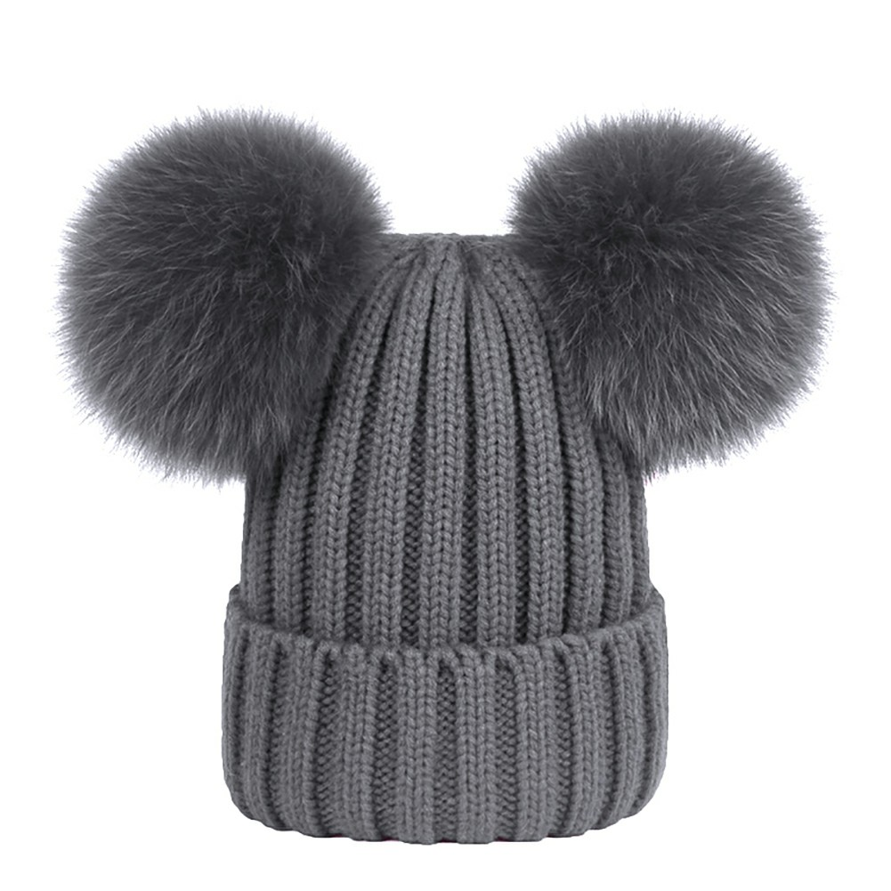Girls Women Winter Warm Double-Fur Beanie Cap Chunky Knit Leisure Lovely Hat - Grey