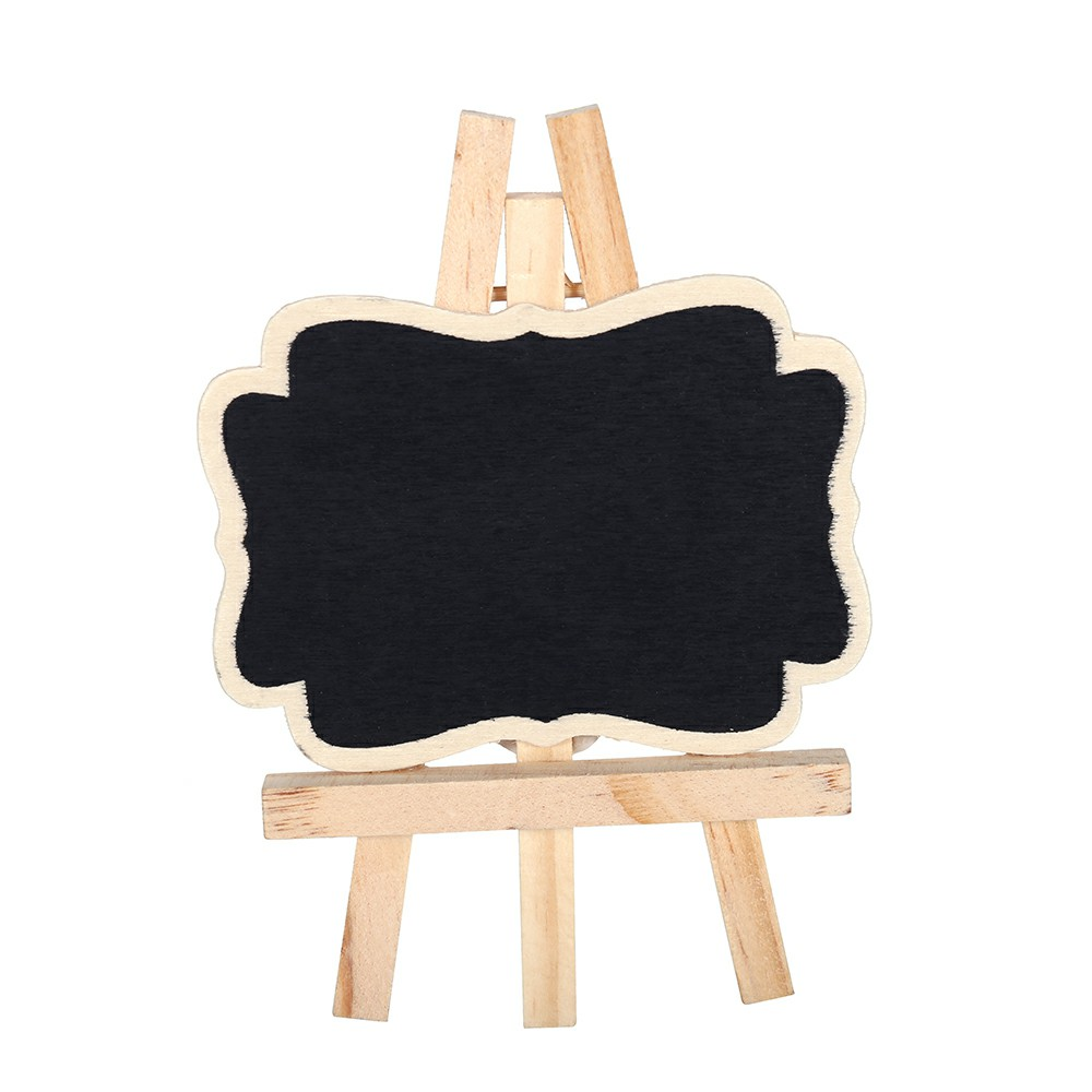 Mini Wooden Message Blackboard Note Sign Board - Rectangle with Easel