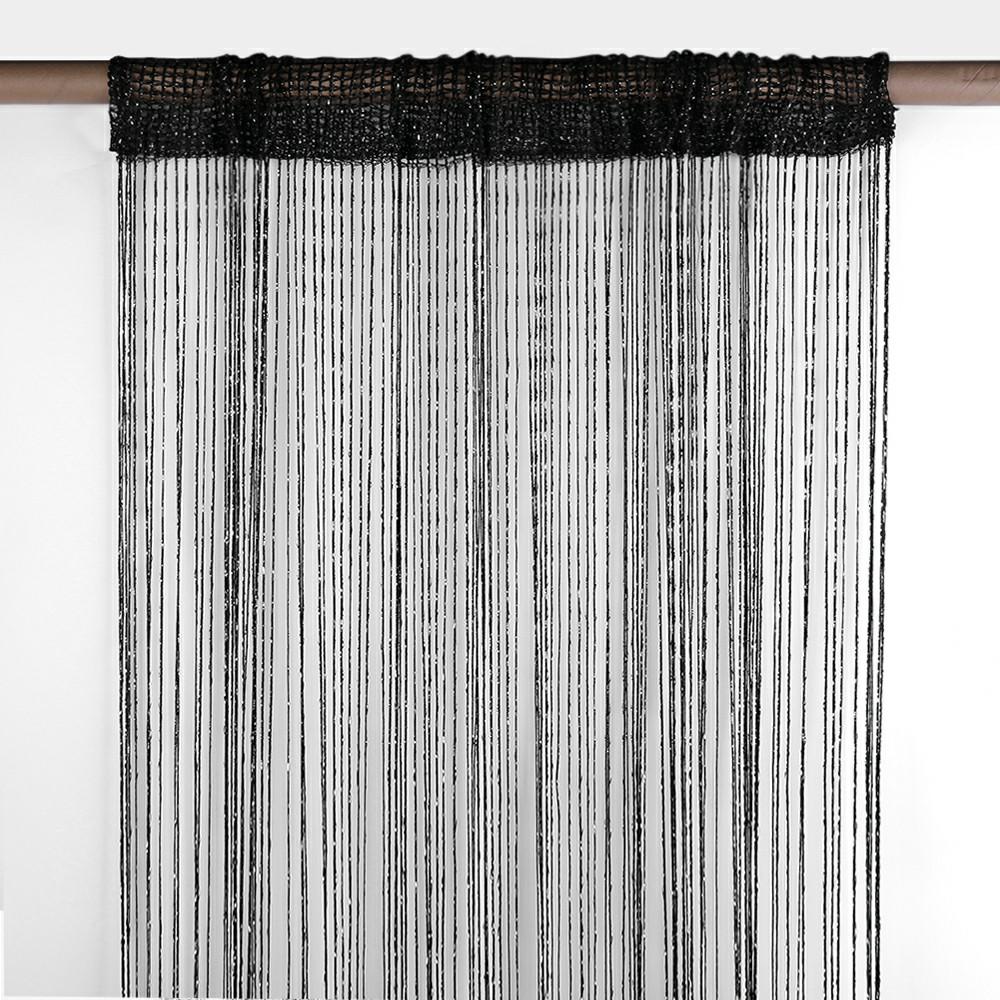 String Curtains Net Door Tassel Screen Windows Divider 100x200cm - Black