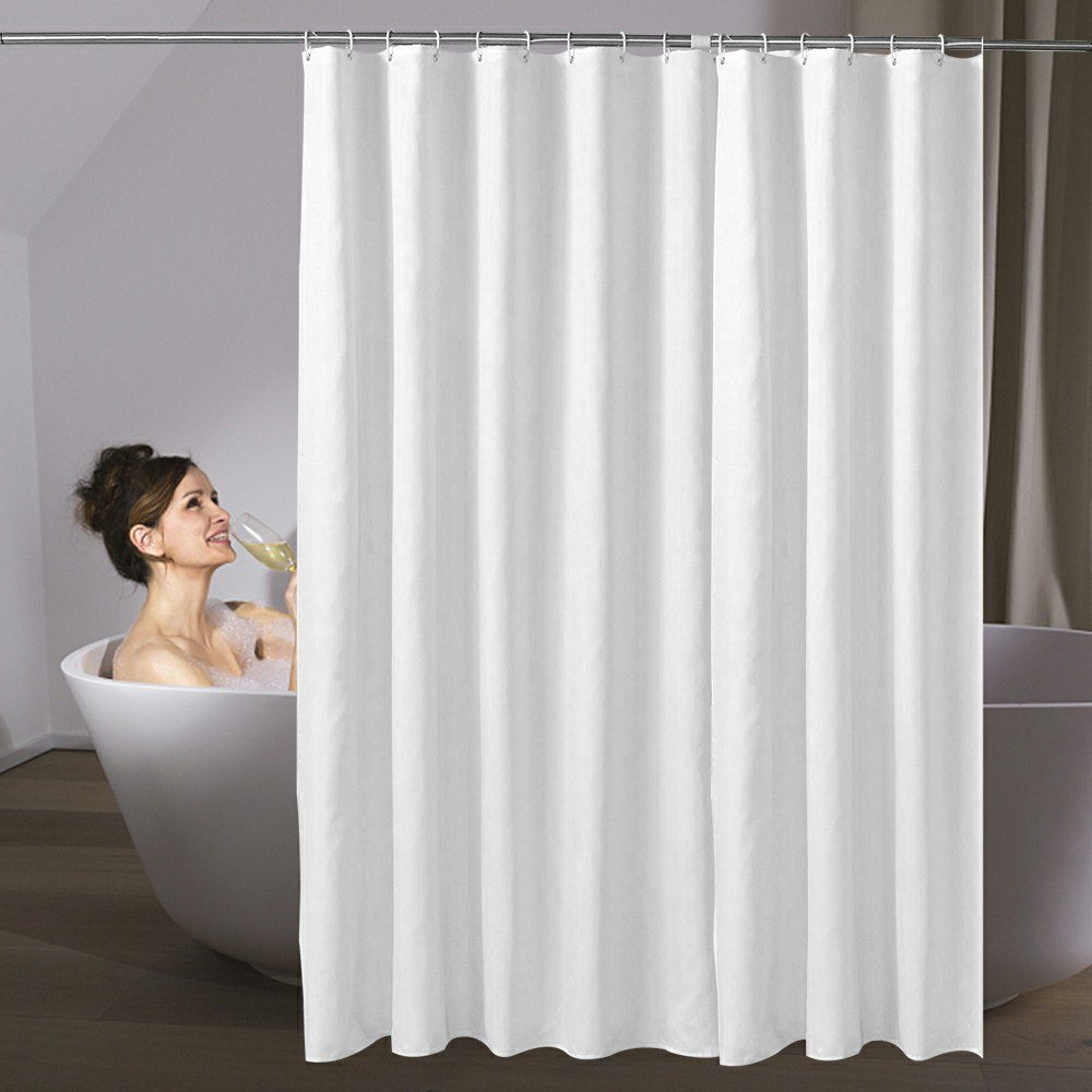 White Fabric Shower Curtain with Weighted Hem and Hooks Rings - 180x180cm