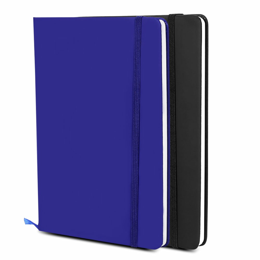 Ivory Paper A5 Executive Soft Feel Notebook with Strap Ruled - Dark blue