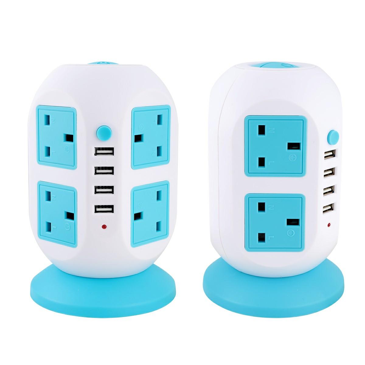 UK Plug Power Strip 8-AC Outlets 4-Port USB Ports Charger Plug - Blue