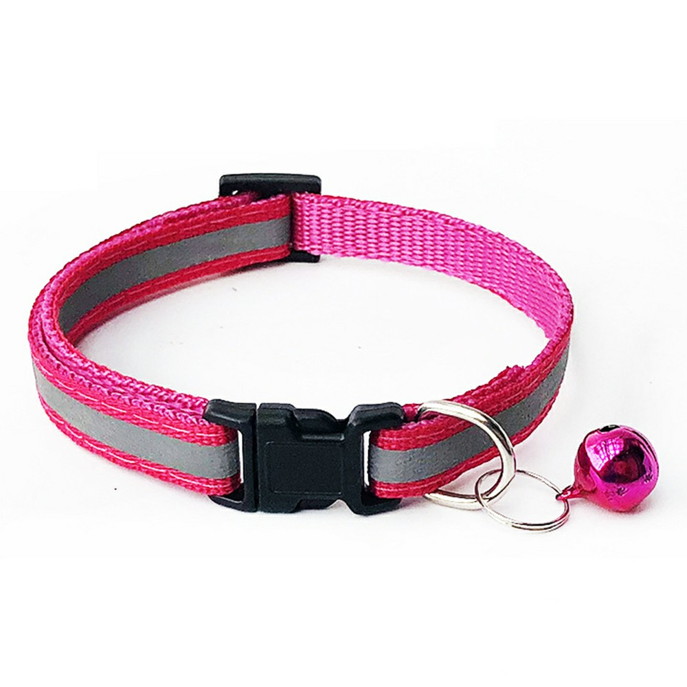 Pet Soft Glossy Reflective Bell Collar with Safety Buckle S - Pink
