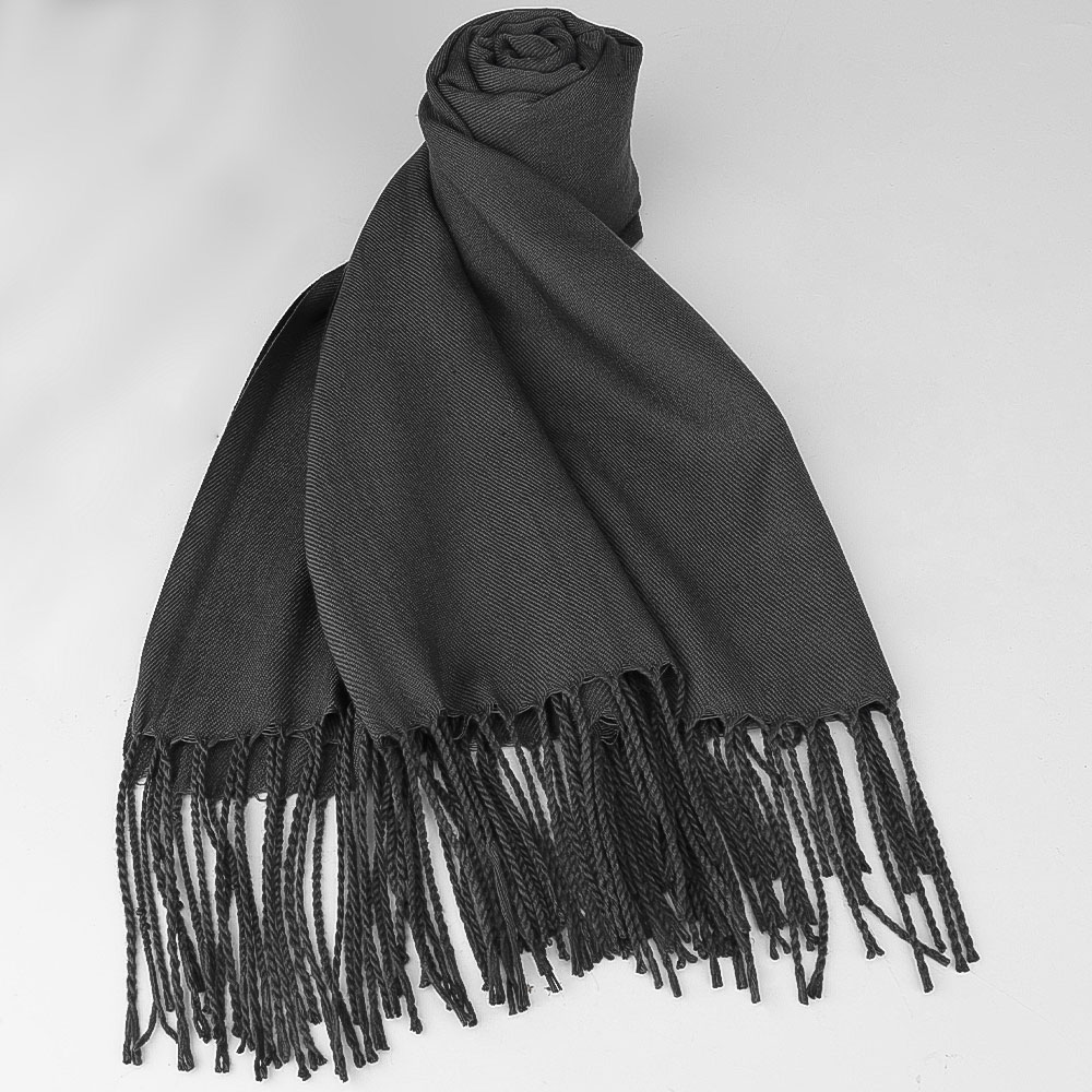 Women Winter Warm Scarf Cashmere Imitation Blend Long Wrap Shawl - Dark Grey