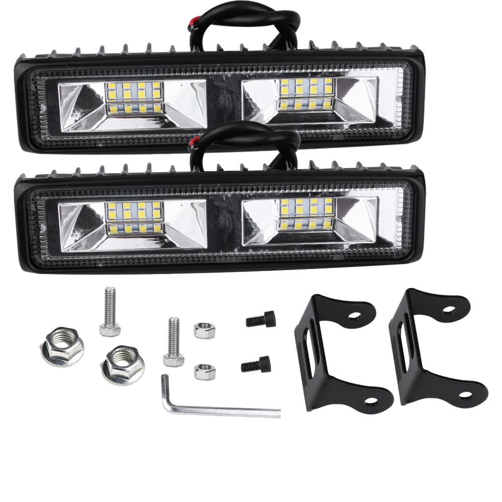 2pcs 48W LED Work Light Bar Flood Spot Driving Lamp for Off Road Car Truck SUV