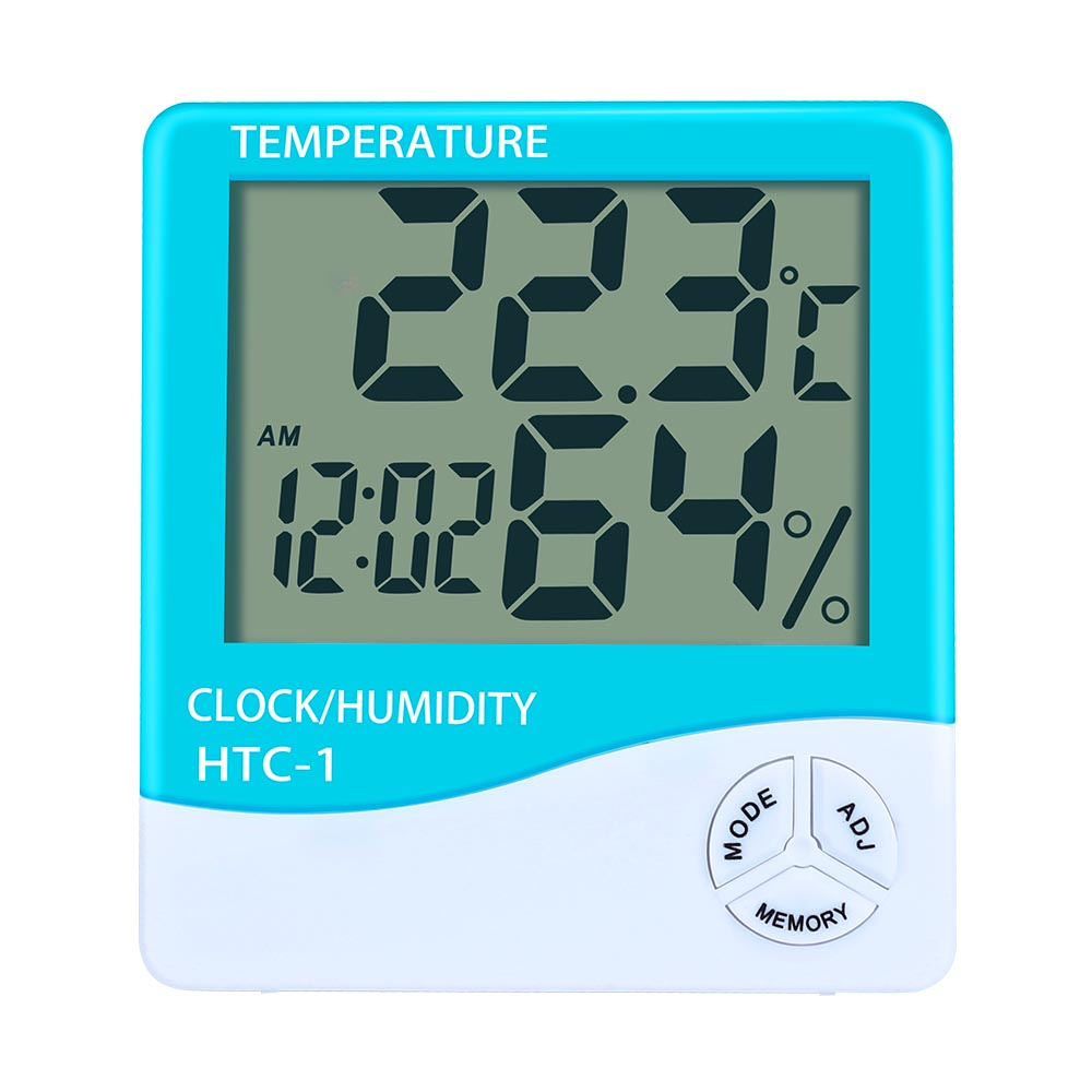 Digital LCD Thermometer Hygrometer Indoor Temperature Clock - Green