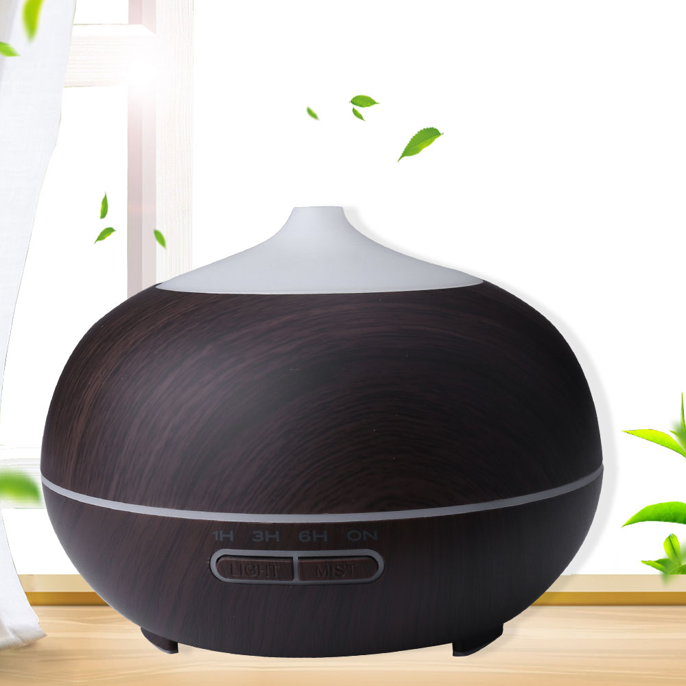 400ML Remote Control LED Aroma Diffuser Ultrasonic Air Mist Humidifier UK - Dark Wood Pattern