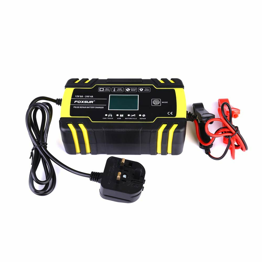 12 24v Automatic Intelligent Pulse Repairing Battery Charger AGM UK for Car Motorbike