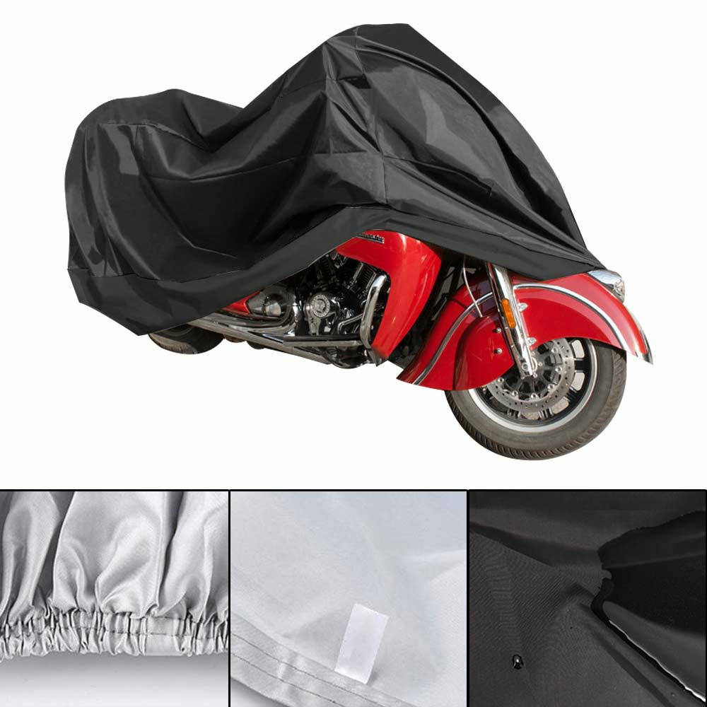 210D Oxford Cloth Motorcycle Waterproof Cover Dust Rain Protector - Black