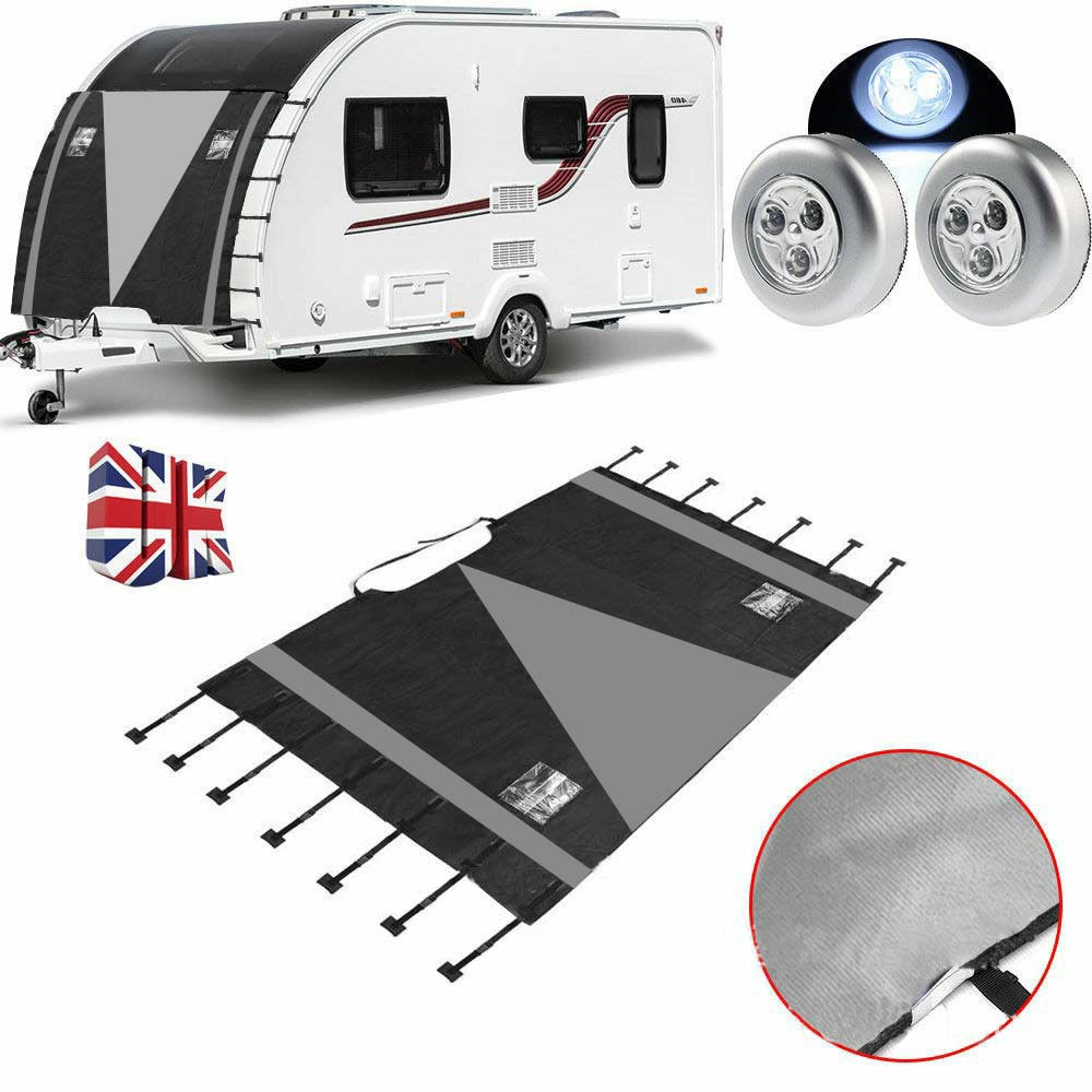 210D Caravan Front Towing Protector Covers Universal Shield Guard - Black + Gray