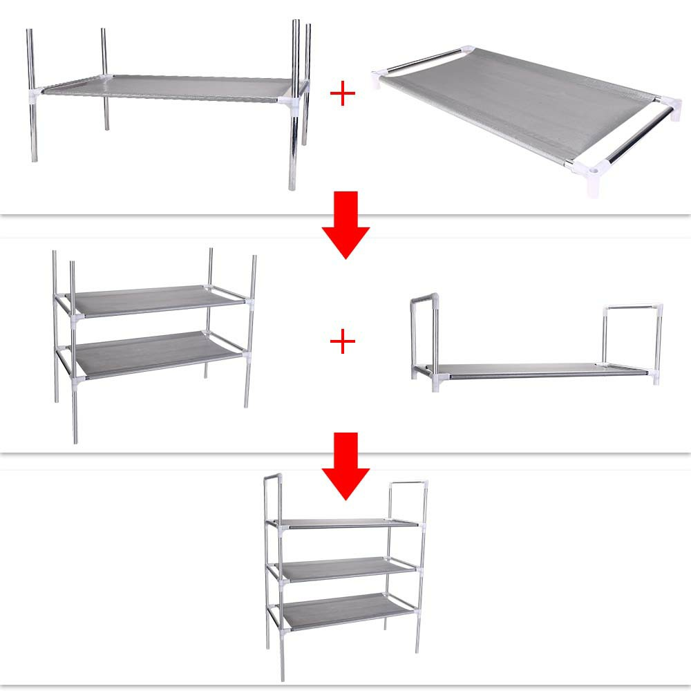 3/4/5 Tier Shelf Shoe Rack Nonwoven Shoes Storage Organiser for 12/15/18 Pairs of Shoes - 3 Tier