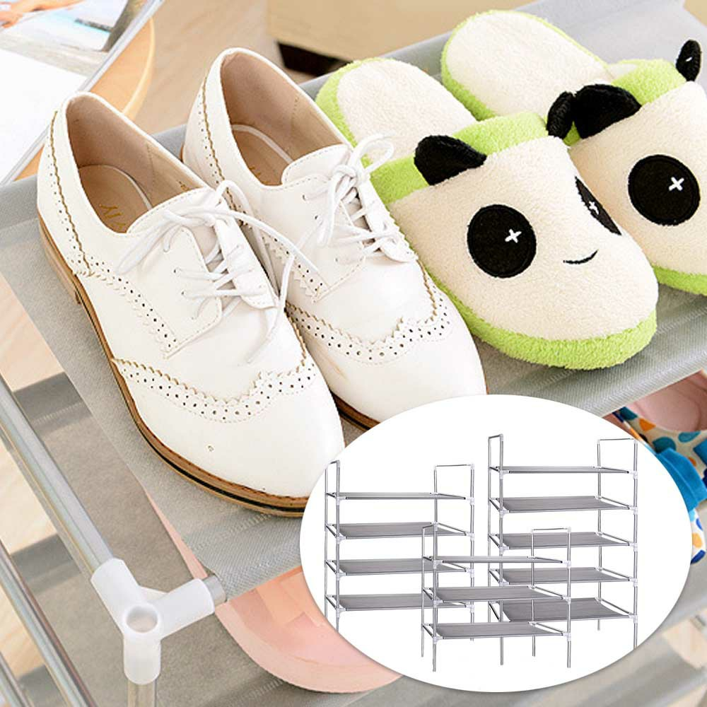3/4/5 Tier Shelf Shoe Rack Nonwoven Shoes Storage Organiser for 15/25/50 Pairs of Shoes - 3 Tier