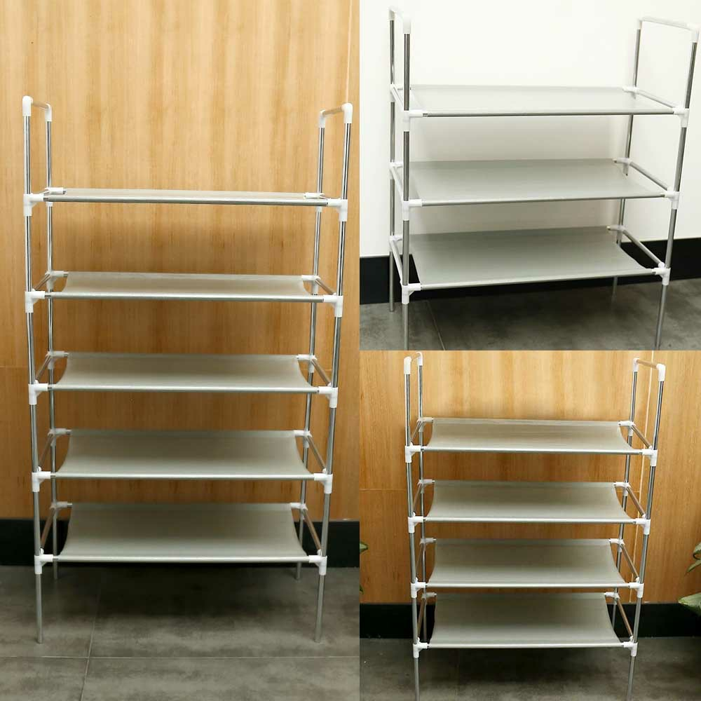 3/4/5 Tier Shelf Shoe Rack Nonwoven Shoes Storage Organiser for 15/25/50 Pairs of Shoes - 4 Tier