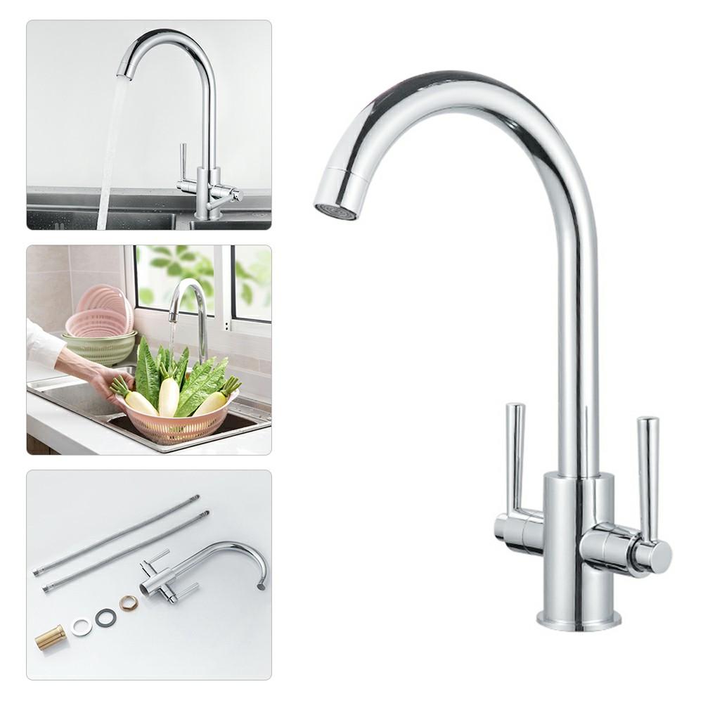 Kitchen Sink Mixer Taps Swivel Spout Dual Lever Tap with 2pcs 60cm Hose