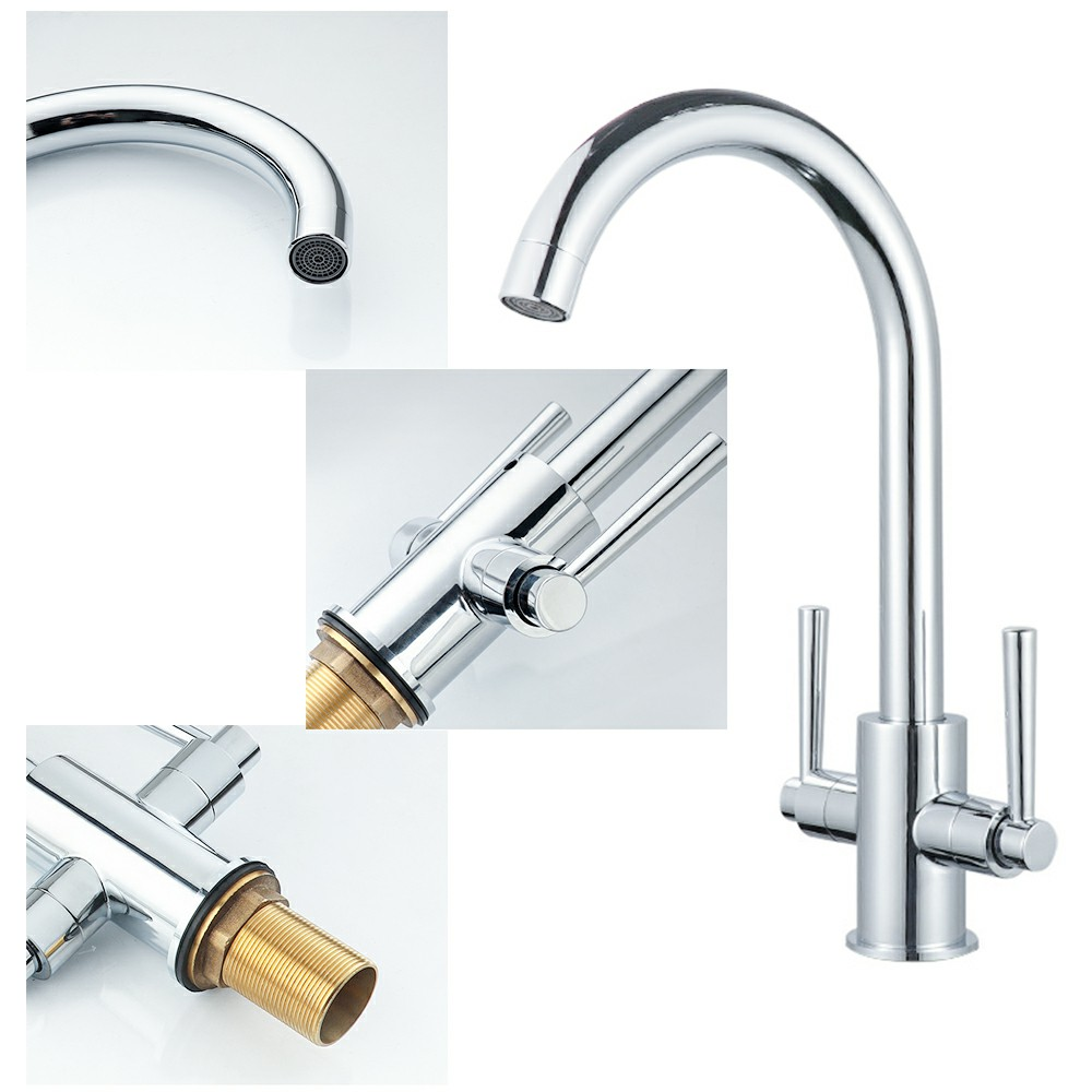 Kitchen Sink Mixer Taps Swivel Spout Dual Lever Tap Mono Brushed Faucet with 2pcs 60cm Stainless Steel Braided Hose