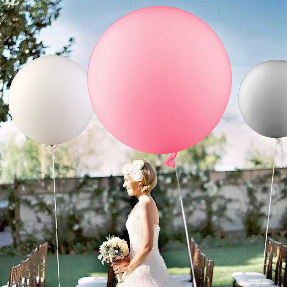 5 Pieces Round Latex Balloons 36 inches Giant Ballons - Pink
