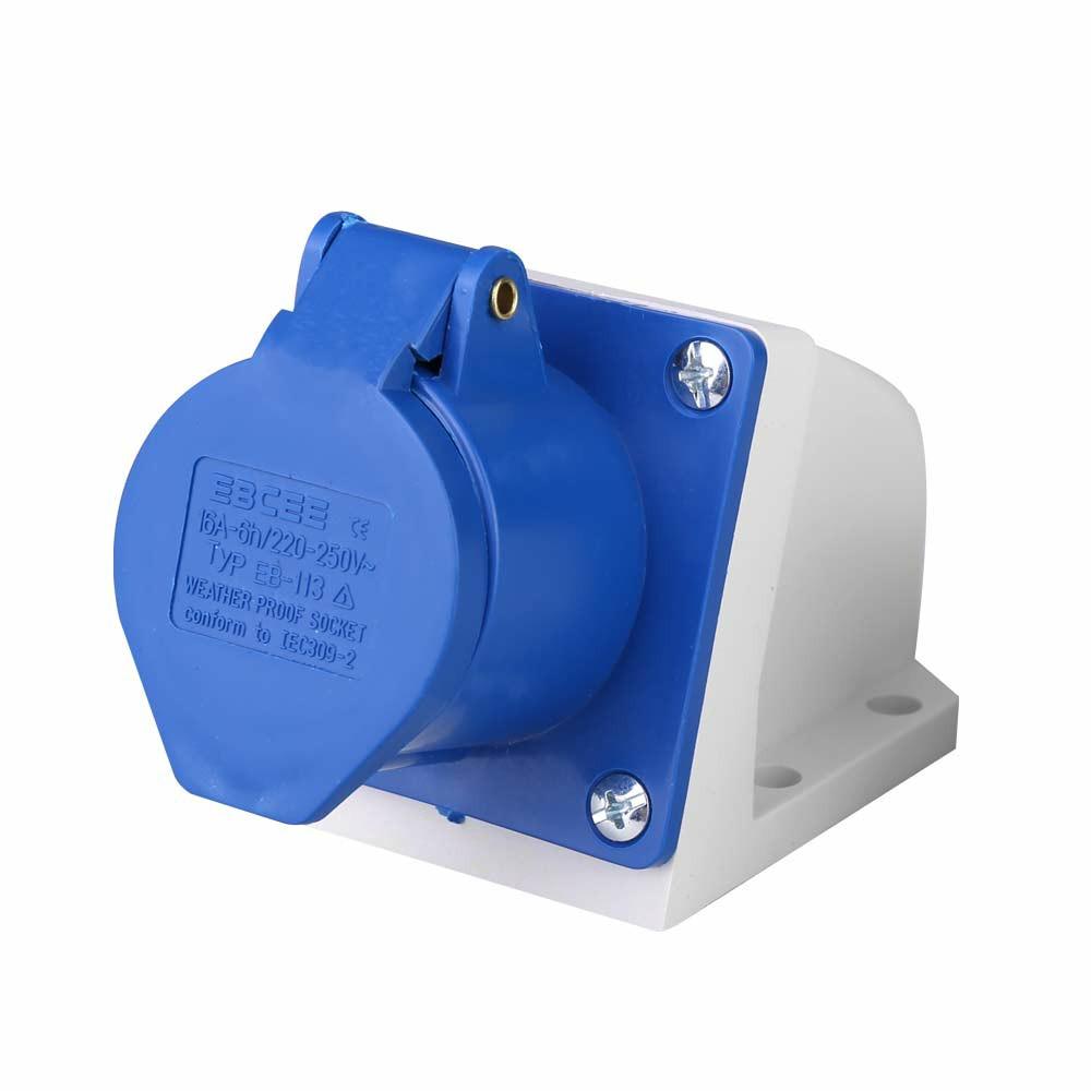 Blue 240V 16 AMP 3 Pin Industrial Site Socket Waterproof IP44 2P Male/Female Socket